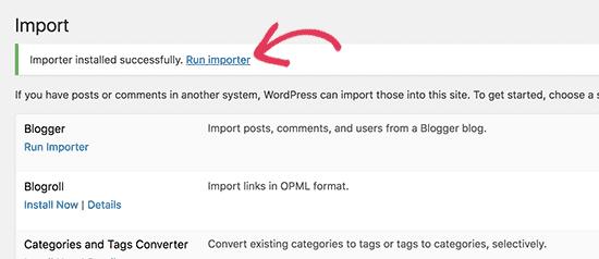 Installing the importer in WordPress.org
